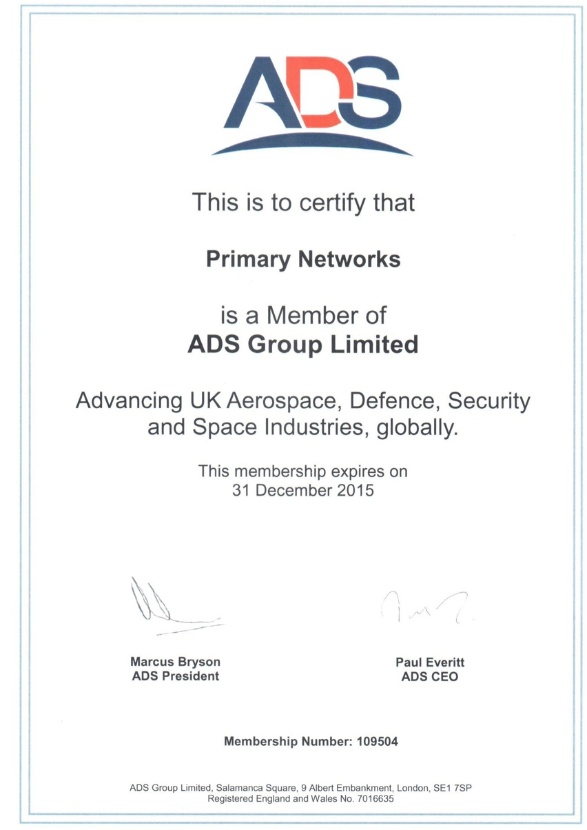 ADS Group member certificate for primary networks
