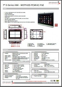 Multi-touch panel PC S – series HMI (slim design) 7′ S – series HMI