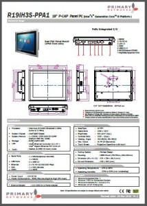 P-Cap Panel Mount PPC (Haswell i5) Multi-touch panel PC